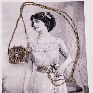 Vintage 925 Amethyst Marcasite Purse necklace